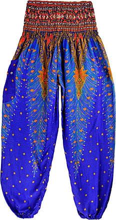 FNKDOR Men Women Thai Harem Loose Close-fitting Breathable Couple Trousers Boho Festival Hippy Smock High Waist Indoor Sport Yoga Pants ( Dark Blue,Free Size