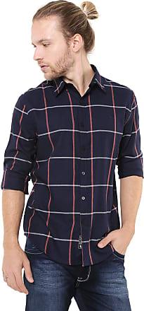 Ellus Camisa Ellus Reta Web Wool Touch Check Azul-marinho