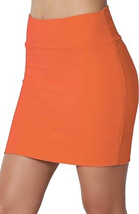 The Celebrity Fashion New Womens Jersey High Waist Bodycon Mini Skirt Elasticated Short Skirts UK 8-14 Neon Orange