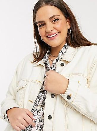 Noisy May Giacca di jeans écru con cuciture a contrasto-Crema