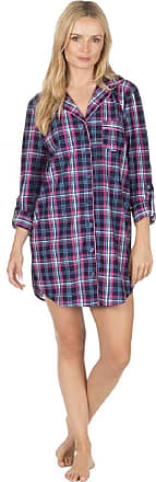 Forever Dreaming Womens Soft Flannel Nightshirt 34B774 Navy/Pink Check S
