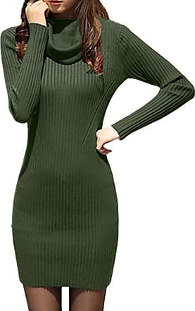 Kobay Womens Dress,Long Sleeve Cowl Neck Knit Stretchable ElasticitySlim Fit Sweater Dress(UK:6,Green )