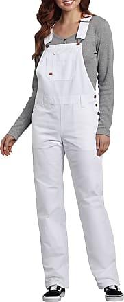 Dickies Womens Bib Overall 100% Cotton Denim with ScuffGard, White, Medium