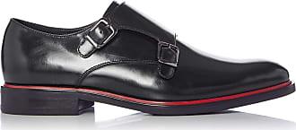 Dune London Dune Mens Spotlight Double Buckle Monk Shoes Size UK 10 Black Flat Heel Monk Shoes
