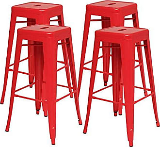 New Pacific Direct Metropolis Metal Backless Counter Stool 26,Indoor/Outdoor Ready,Red,Set of 4