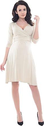 Purpless Maternity Classic Pregnancy Dress Vneck A line 4400 (18, Beige)