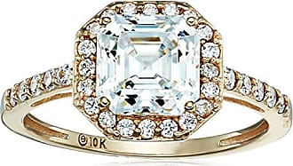Amazon Collection 10k Yellow Gold Asscher-Cut Halo Ring made with Swarovski Zirconia, Size 6
