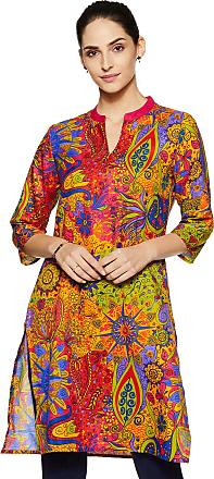 Indigo Womens Synthetic Straight Kurta (SS-19/IND-1063_ Multicolor_ Xx-Large)
