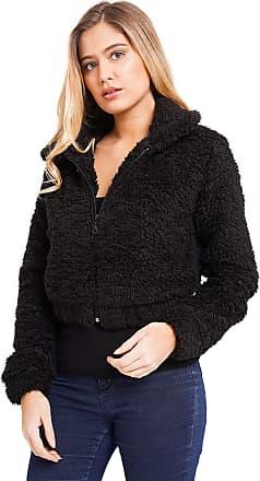 Noroze Women Zipper Crop Borg Jacket Top (10, Black)