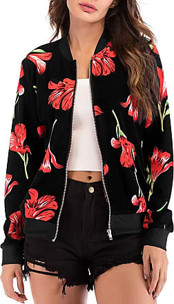 EmilyLe Womens Floral Print Bomber Jacket Long Sleeve Zipper Baseball Casual Outwear Fashion Tops (2XL, Flower Black)