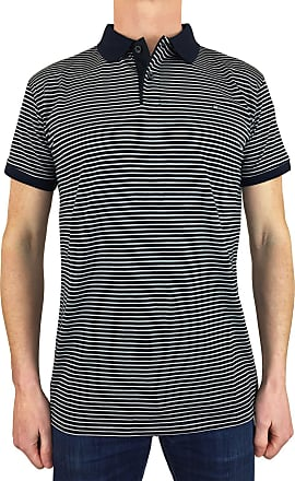 Weekend Offender Mens Golding Stripe Polo Shirt in Navy Blue Medium