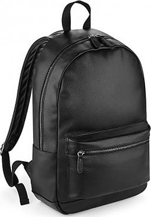 BagBase Faux Leather Fashion Backpack - Black
