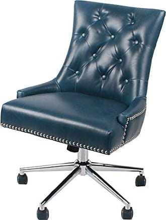 New Pacific Direct Cadence Bonded Leather Office Chair,Chrome Legs,Vintage Blue