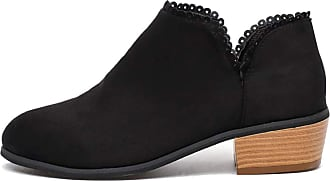 TOMWELL Womens Boots Fashion Winter Autumn Low Top Ankle Boots Suede Leather Chelsea Boots Low Block Flat Heel Bootie Black 4 UK