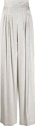 Hebe Studio Calça pantalona risca de giz - Branco