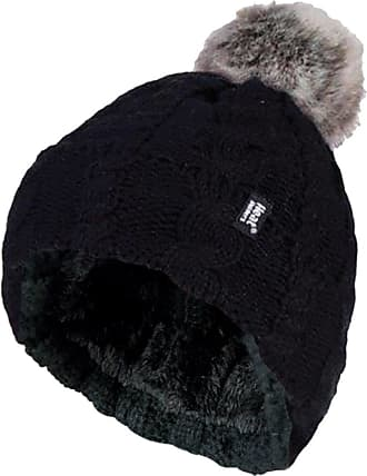 Heat Holders Ladies Warm Knit Fleece Lined Cuffed Thermal Winter Bobble Hat with Pom Pom (One Size, Black)