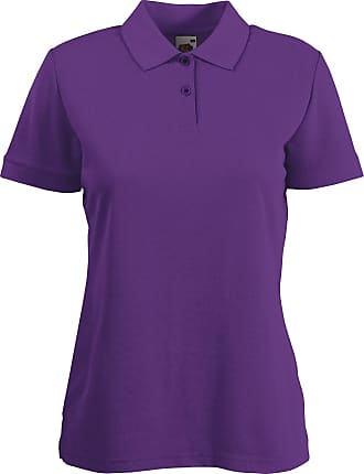 Fruit Of The Loom Womens Lady Fit Pique Polo Shirt Purple XS