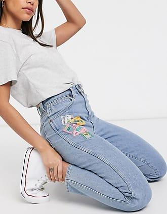 Wrangler Mom jeans a vita alta effetto vintage blu con toppe