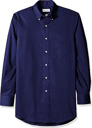 Van Heusen mens13V0521Regular Fit Twill Solid Button Down Collar Dress Shirt Button Down Collar Long Sleeves Dress Shirt - Blue - Medium