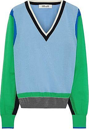 Diane Von Fürstenberg Diane Von Furstenberg Woman Color-block Cotton-blend Sweater Light Blue Size S