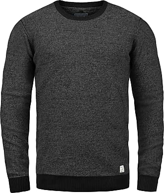 Blend Nathan Mens Jumper Knit Pullover with Crew Neck Made of 100% Cotton, Size:XL, Colour:Black (70155)