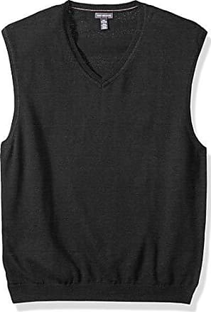 Van Heusen Mens Solid Sweater Vest 12GG, Black Heather, Small