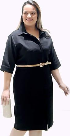 Vickttoria Vick Vestido Chemisier Piquet Preto Plus Size (50)