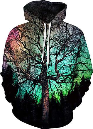 Ocean Plus Mens Hoodie 3D Graphic Hoodie with Kangaroo Pocket Hoody Sweat Hood Sweatshirts (XXL/3XL (Chest: 126-146CM), Green Tree)