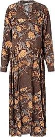YaYa Langes Kleid mit Aufdruck - 34 | viscose | chocolate dessin/ wave and floral print