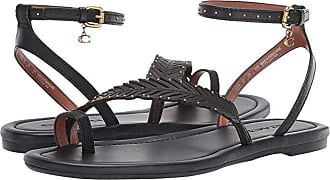 Coach Lily Flat Sandal (Black Leather) Womens Shoes