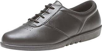 Boulevard Ladies Black Leather Machine Washable Oxford Leisure Shoe - Treble - Black - size UK Ladies Size 7