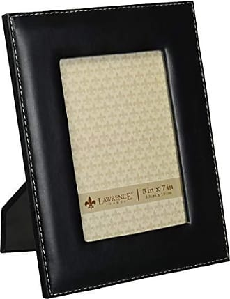 Lawrence Frames Black Leather 5 by 7 Picture Frame