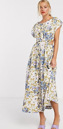 & Other Stories retro floral print cut-out detail midi dress in multi-Cream