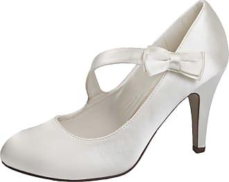 Lora Dora Womens Wedding Shoes Bow Strap Ivory UK 4