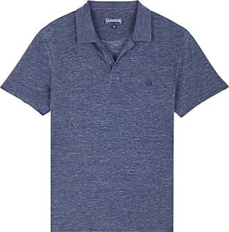 Vilebrequin Men Linen Jersey Polo Shirt Solid - Dark Chinese Blue - 4XL