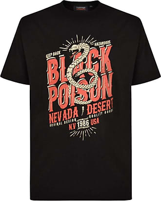 Espionage Black Poison Print T-Shirt Crew Neck 100% Cotton Sizes XXL to 8XL 7XL Black