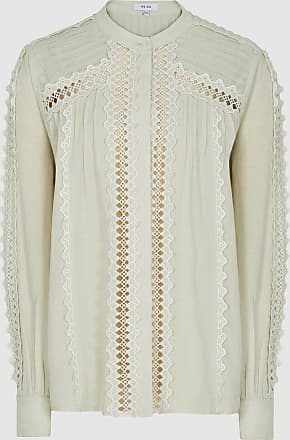 Reiss Chantal - Lace-embellished Cotton Blouse in Mint, Womens, Size 10