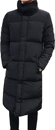 Yonglan Mens Stand Collar Long Down Jacket Plus Size Winter Warm Padded Puffer Coat Parka Black XXXL