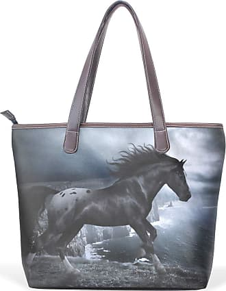 NaiiaN Light Weight Strap Shoulder Bags Tote Bag Leather Dark Running Horse Animal Cool Letter for Women Girls Ladies Student Purse Shopping Handbags