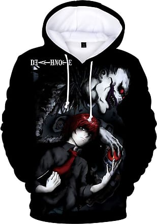 Haililais Death Note Pullover Personality Sweatshirt Winter Hooded Parent-Child wear Tops Printed Pullover Unisex (Color : A04, Size : 170)