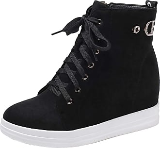 RAZAMAZA Women Classic Wedge Heels Sneaker Boots Zipper Short Boots Hidden Heel Round Toe Ankle Boots Black Size 33 Asian