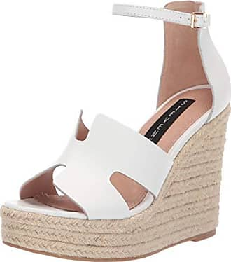 c679278f5cb Steven by Steve Madden Womens Sirena Espadrille Wedge Sandal White Leather  6 M US