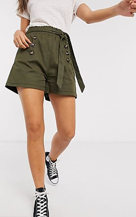 Qed London Twill-Shorts mit Paperbag-Taille in Khaki-Grün