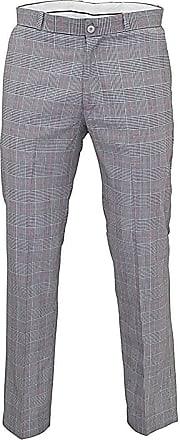 Relco Mens Stay Press Prince of Wales Trousers Sta Press Retro Mod Skin Ska VTG, 38 Inch Silver Grey