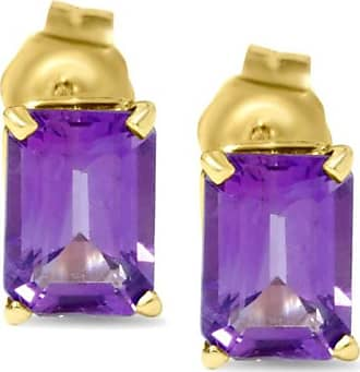 Pompeii3 1 3/4ct 14k Yellow Gold Emerald Cut Womens Amethyst Stud Purple Karat Earrings