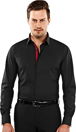 Vincenzo Boretti Mens Shirt Slim-fit Non-Iron Black Inside Wine red Contrasting Trim 15