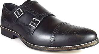 Redtape Eaton Mens Black Leather Formal Brogue Monk Shoes