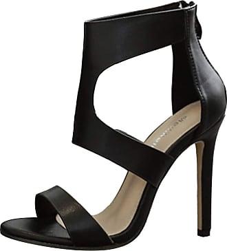 Mediffen Dieenia Sandals Women Classic High Heel Sandals Open Toe Summer Sandals Zip Rome Sandals Stiletto Black Size 1.5 UK/34