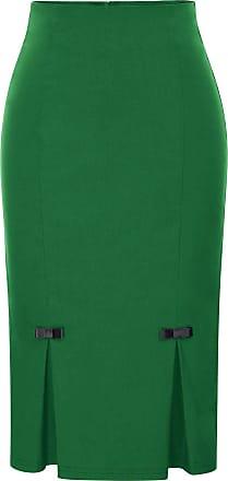 Belle Poque Ladies Formal Office Dressing Knee-Length Plain Body Con Skirt Dark Green(587-6) Medium