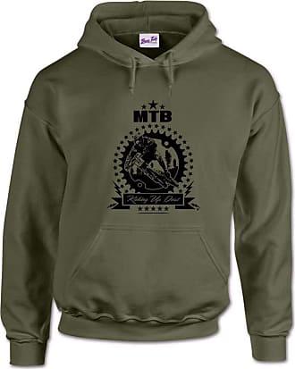 Bang Tidy Clothing Kicking Up Dust Mountain Biking MTB Mens Hoodie-Military Green-M